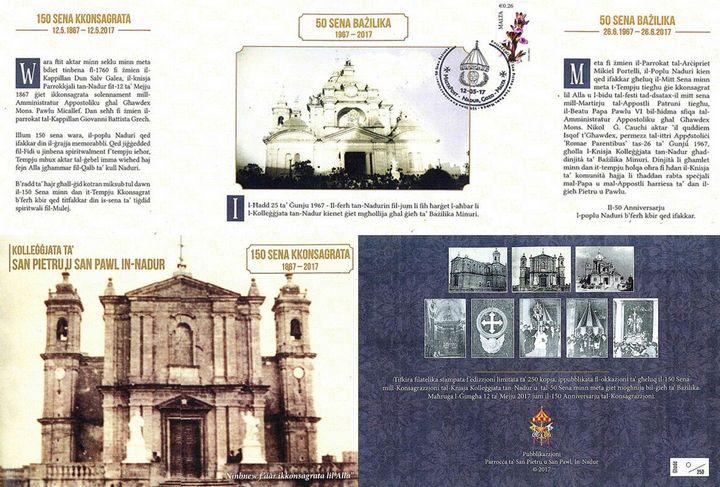 Special Philatelic Anniversary Folder issued by Nadur Parish