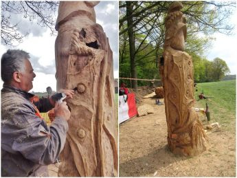 Sculptor Mario Agius presents public sculpture in wood for the city of Beesel