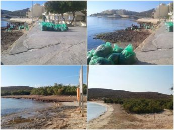 Clean-up of seaweed and debris from Comino Bay and Qbajjar