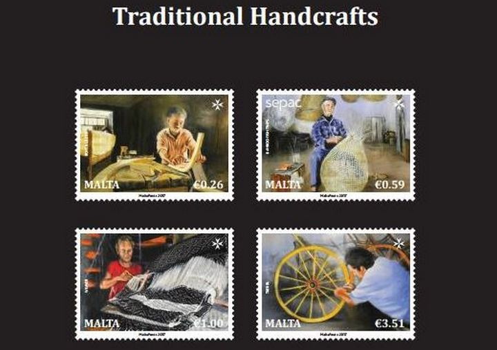 SEPAC series stamp issue depicting traditional Maltese handcrafts