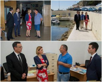 Minister for Gozo Justyne Caruana visits facilities at the port of Mgarr
