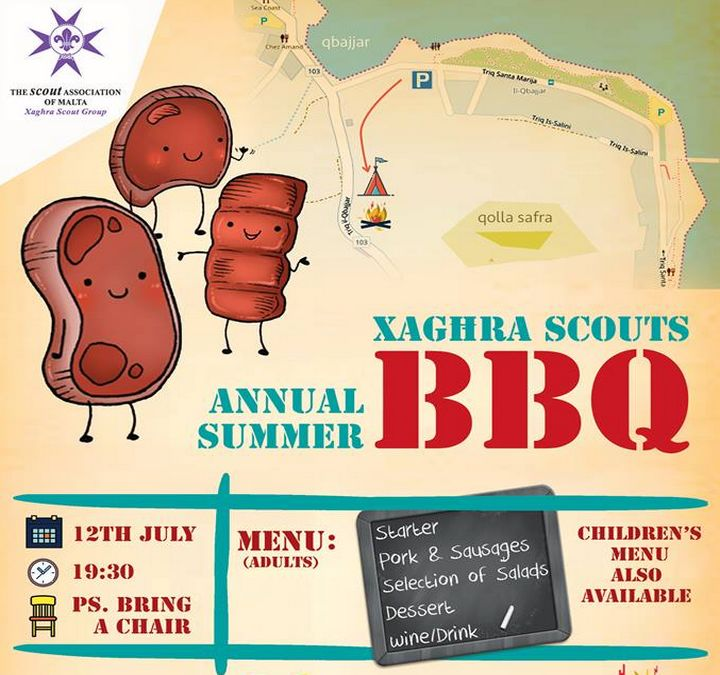 Join the Xaghra Scout Group for its annual fundraising Summer BBQ