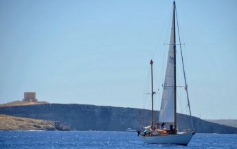 Classic yachts in the Trophée Bailli de Suffren arriving in Gozo