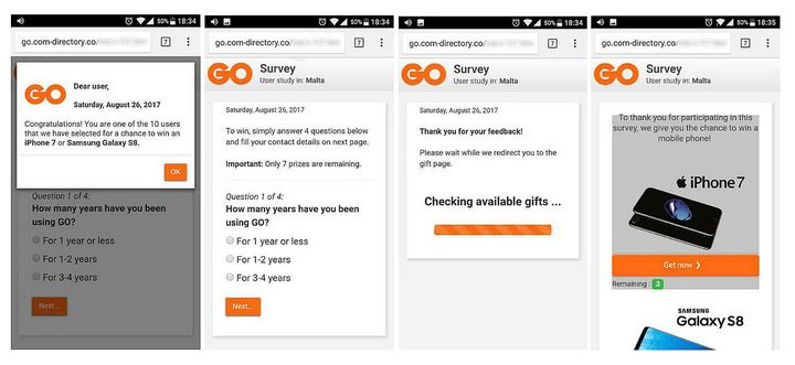 GO warns the public to ignore fake online survey request