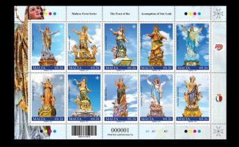 Maltese Festa stamp issue: 10 statues of the Assumption of Our Lady