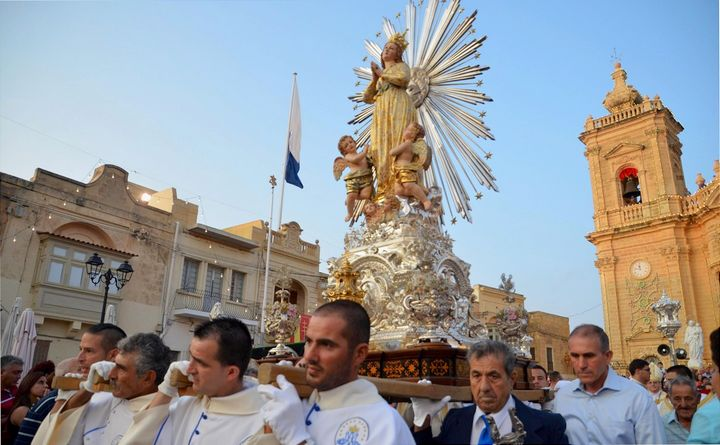 Renovated statue of Maria Bambina in procession for Xaghra feast