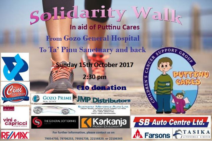 Gozo Solidarity Walk next Sunday in aid of Puttinu Cares