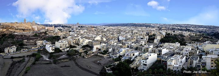 A bird's eye view of Victoria and the ancient Citadel, Gozo