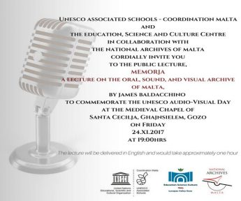 Memorja - Gozo public lecture for UNESCO Audiovisual Heritage Day