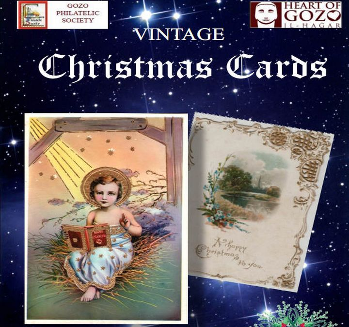 Vintage Christmas Cards on display at Il-Hagar Museum, Gozo