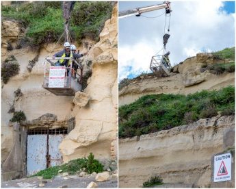 Dangerous loose boulders being removed at Dahlet Qorret Bay