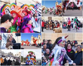 Colour and laughter during Carnival activities in Xaghra and Xewkija