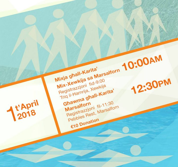 MCCFF fundraising Walk and Swim in Gozo on Easter Sunday