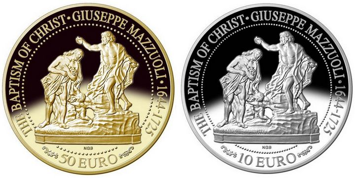 New coin features Giuseppe Mazzuoli's sculpture The Baptism of Christ