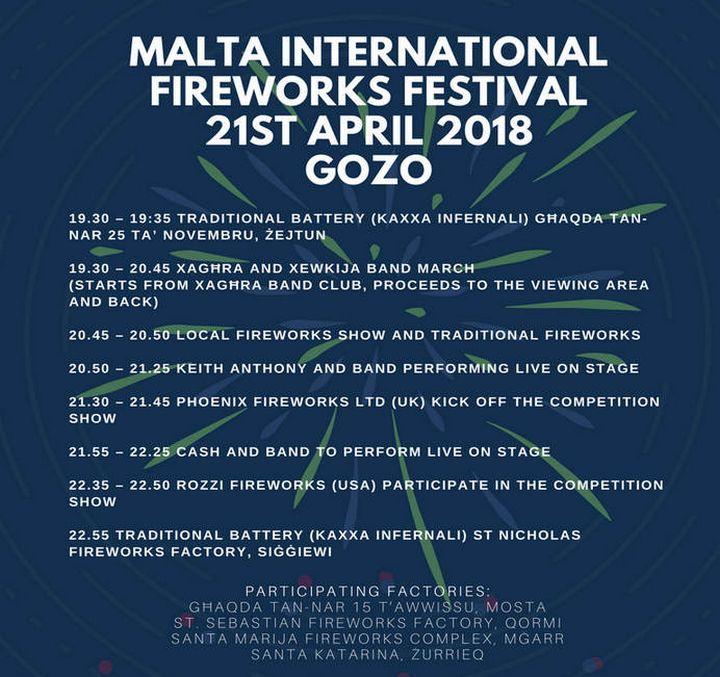 Malta International Fireworks Festival kicks off in Xaghra on Saturday