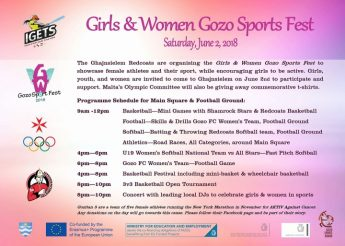 Girls & Women Gozo Sports Fest in Ghajnsielem this Saturday