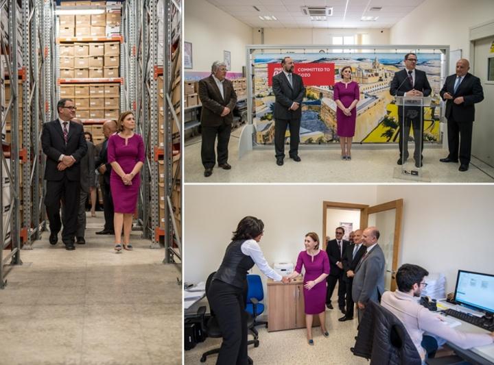 Gozo Minister visits MaltaPost's Document Management Centre
