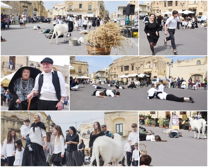 Scenes from an air raid in World War II reenacted in Xaghra Square