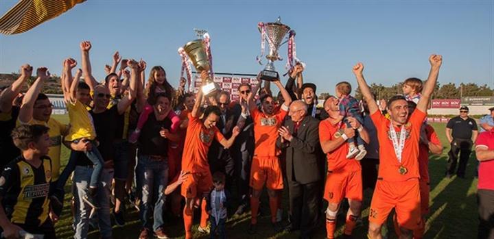 Xewkija Tigers celebrate winning the BOV GFA Cup