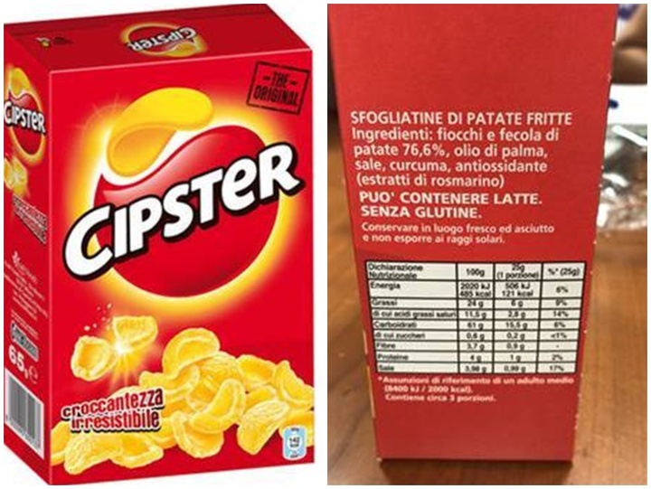 Warning not to eat Cipster crisps because of undeclared gluten