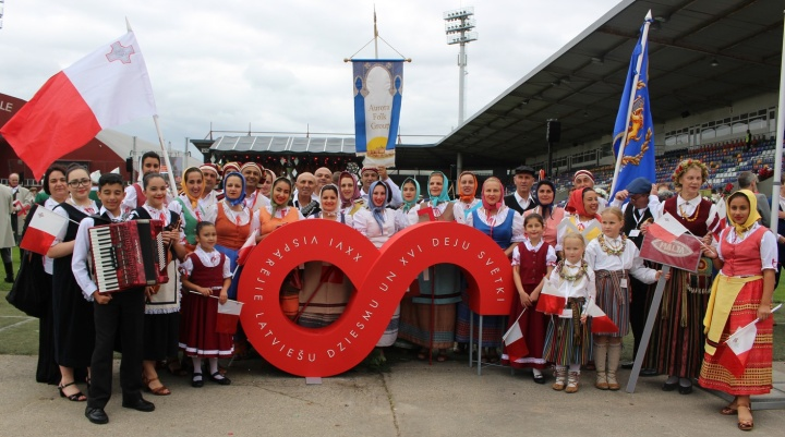 Aurora Folk Group taking part in Latvian Song and Dance Festival