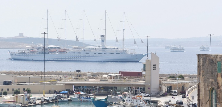 Club Med 2 sailing ship calls at Mgarr Harbour for Gozo visit