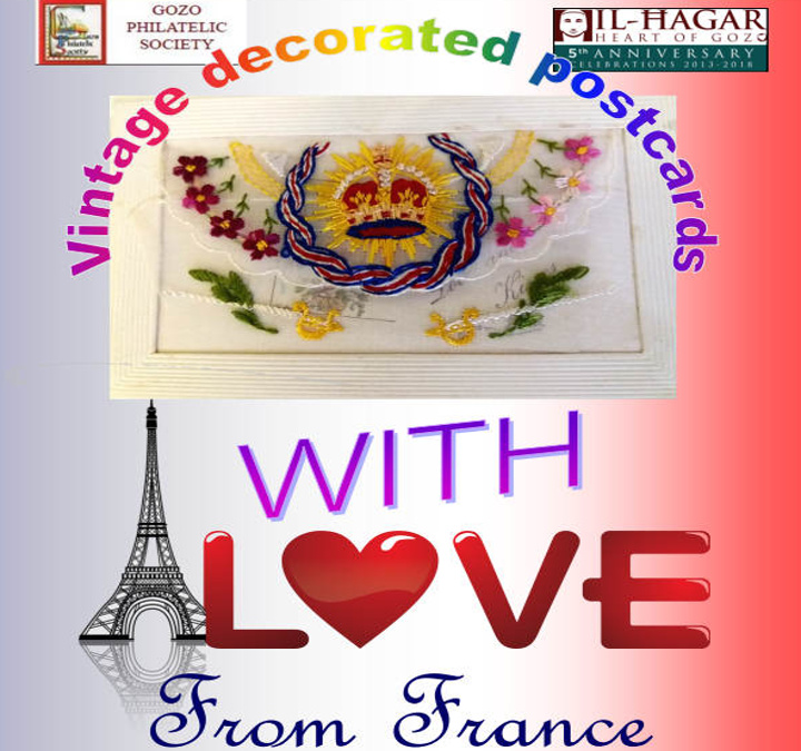 Decorated postcards at Il-Hagar, Gozo with love from France