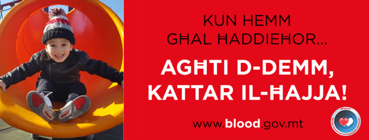 Please take time to help others and donate blood this Tuesday in Gozo