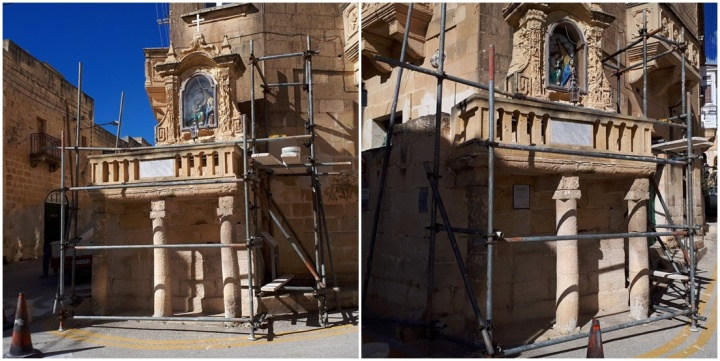 Restoration begins on the niche of the Annunciation of Our Lady