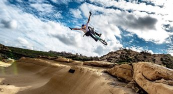Pro-BMX rider Daniel Wedemeijer rides at Reqqa Point in Gozo