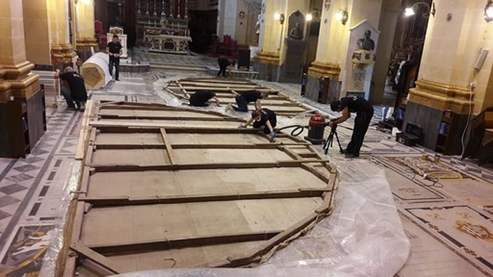 Gozo Cathedral trompe l'oeil undergoing conservation and restoration