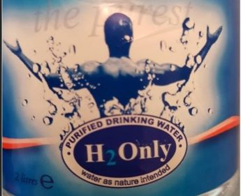Health warning not to drink H2 Only Purified Drinking Water