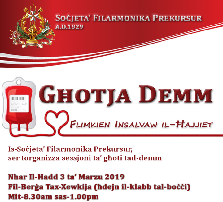 Please help others and donate blood this Sunday morning in Gozo