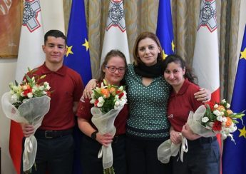 Gozitan athletes from Special Olympics Malta visit Gozo Minister