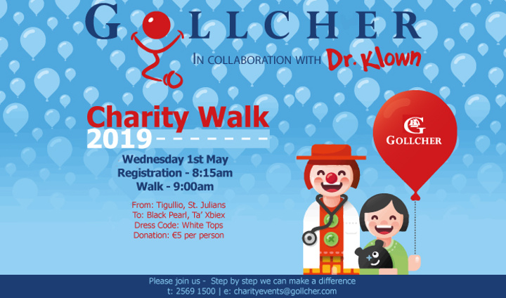 Charity walk for Dr Klown services in Gozo and Mater Dei hospitals