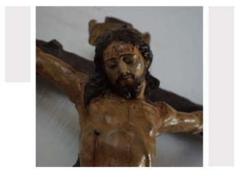 Crucifixes on display at Il-Hagar Museum for Holy Week in Gozo