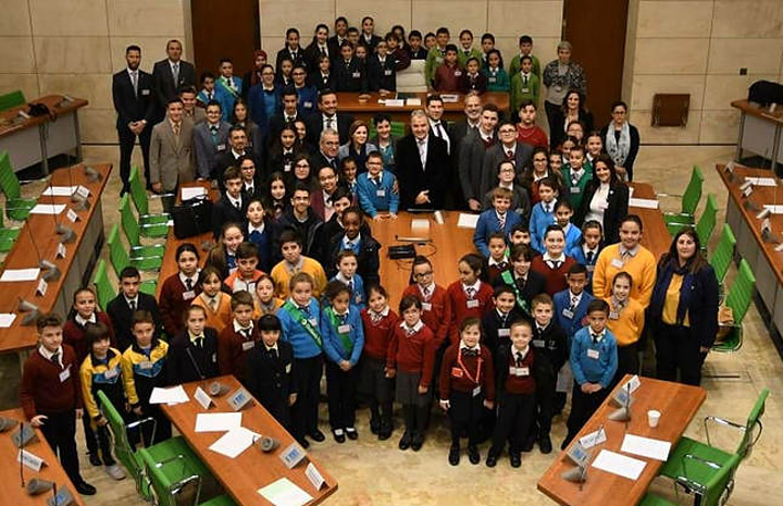 Students discuss environmental issues during today's EkoSkola Parliament