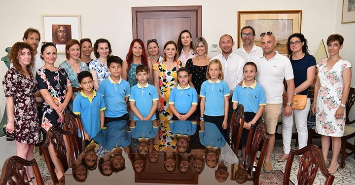 Young winners from Gharb of Int. Mental Maths Challenge visit Gozo Minister