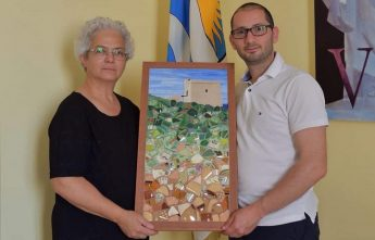 Sopu Tower in mosaic now on display at Nadur Council office