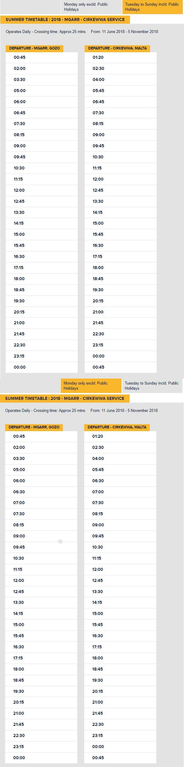 Gozo Ferry Summer Timetable 2018